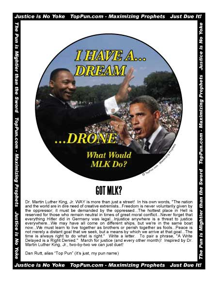 MLK I Have a Dream Obama I Have a Drone FREE POSTER POEM: Owed to XL