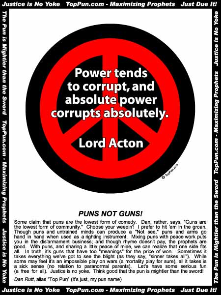 Free Peace Sign Poster Absolute Power Corrupts