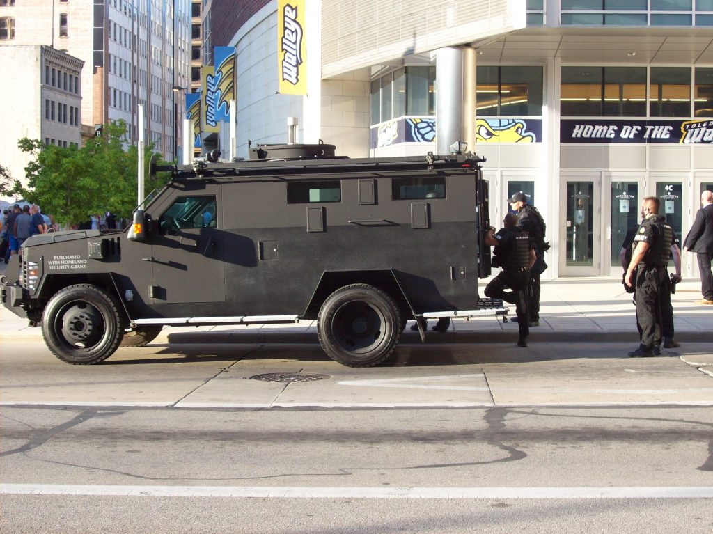 Military-style police armored truck