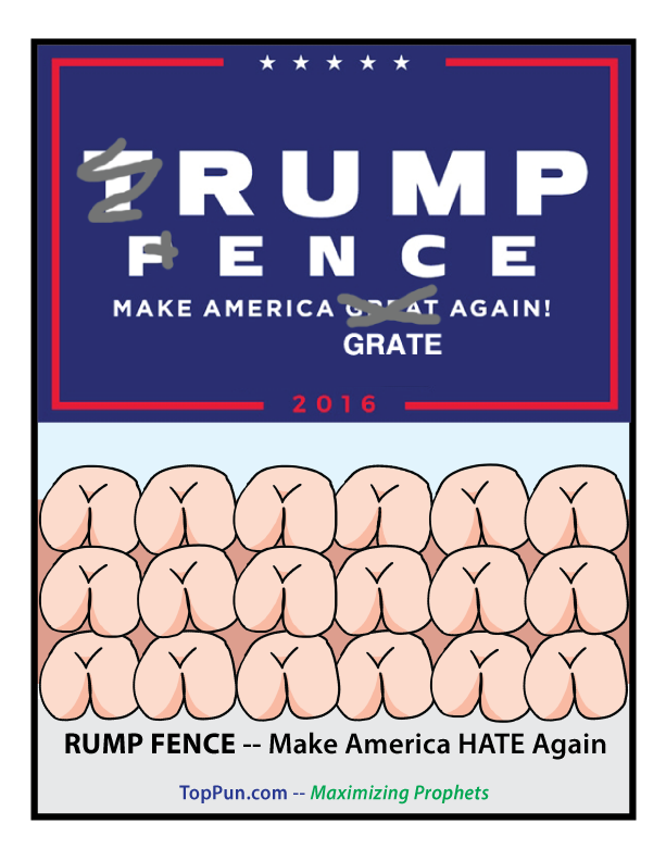 Anti-Donald TRUMP PENCE Poster RUMP FENCE Make America Grate Again HATE Again
