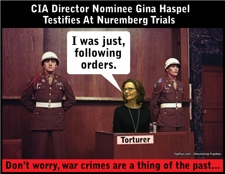 FREE POLITICAL POSTER: CIA Director Nominee Gina Haspel Tortuously Testifies At Nuremberg War Crimes Trials
