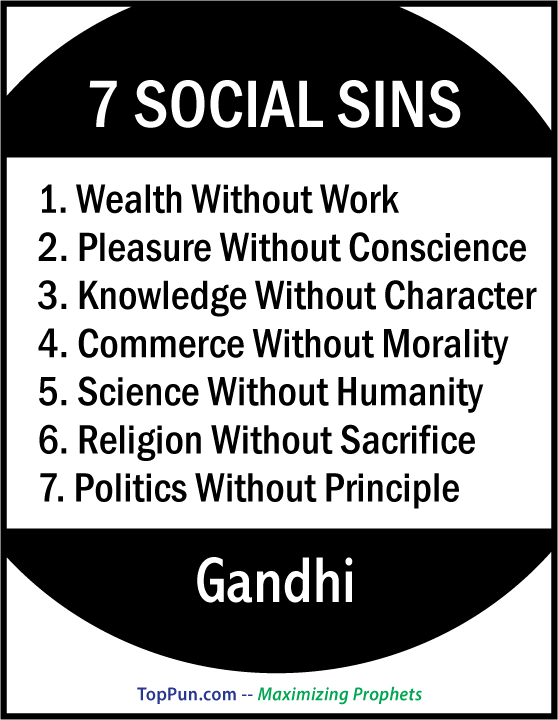 Gandhi Quote: Seven Social Sins FREE POSTER
