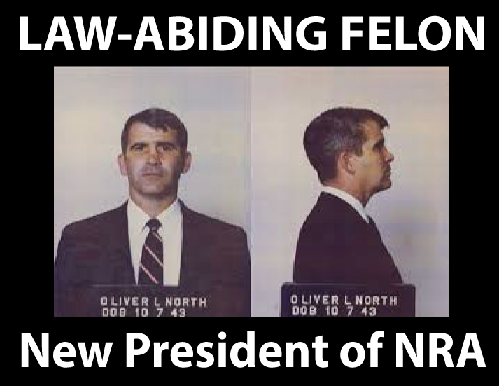 FREE POLITICAL POSTER: Oliver North - Law-Abiding Felon New President of NRA