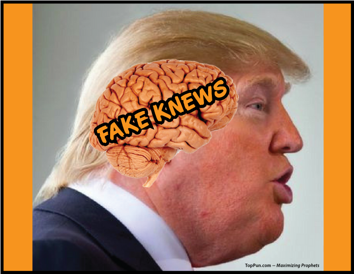 ANTI-TRUMP POSTER: Prez Donald Trump FAKE KNEWS -- Fake News on the Brain