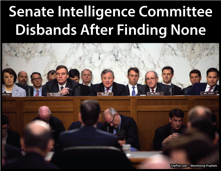 FREE POLITICAL POSTER: Senate Intelligence Committee Disbands After Finding None