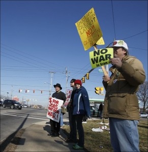 "Top Pun at Toledo ""No War in Iran"" Protest"