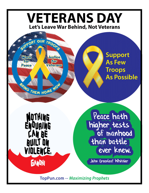 FREE POSTER: VETERANS DAY Let's Leave War Behind Not Veterans