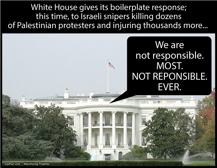FREE POLITICAL POSTER: White House gives its boilerplate response - We are NOT responsible. MOST. NOT RESPONSIBLE. EVER.
